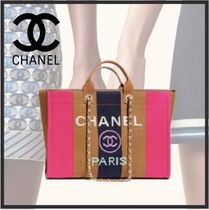 CHANEL DEAUVILLE Stripes Casual Style Calfskin Blended Fabrics A4 2WAY Chain