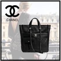 CHANEL Casual Style Calfskin A4 2WAY Chain Plain Leather
