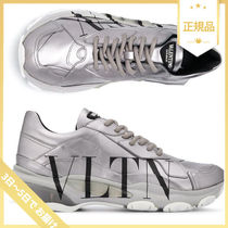 VALENTINO VLTN Leather Metallic Low-Top Sneakers
