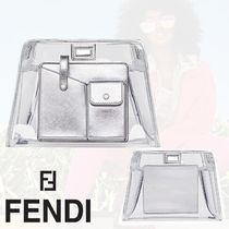 FENDI Casual Style Plain Leather Crystal Clear Bags PVC Clothing