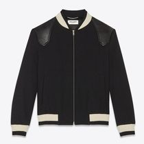 Saint Laurent Short Wool Plain Varsity Jackets