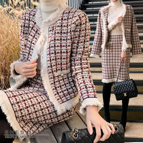 Short Casual Style Tight Wool Tweed Long Sleeves Medium