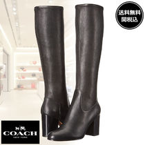 Coach Plain Leather Block Heels Office Style Elegant Style