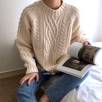 Crew Neck Cable Knit Casual Style Long Sleeves Medium