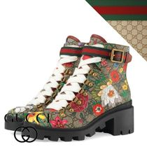 GUCCI Flower Patterns Rubber Sole Leather Mid Heel Boots