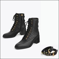 Uterque Quilted Leather Ankle Boots with Buckles