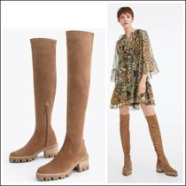 Uterque Split Suede Long Boots with Track Soles