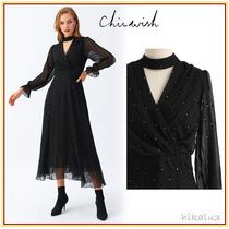 Chicwish Wrap Dresses Dots Maxi Halter Neck Long Sleeves Party Style