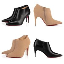 Christian Louboutin Velvet Plain Leather Pin Heels Handmade Party Style