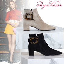 Roger Vivier Square Toe Suede Ankle & Booties Boots
