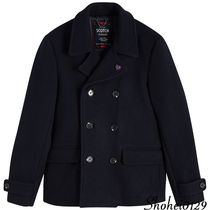 Ron Herman Short Unisex Wool Plain Handmade Peacoats Coats