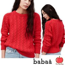 Crew Neck Cable Knit Casual Style Cotton Knitwear