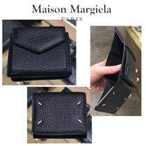 Maison Margiela Unisex Plain Leather Logo Folding Wallets
