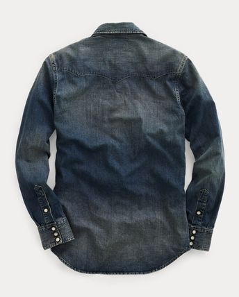 Button-down Denim Long Sleeves Plain Cotton Shirts