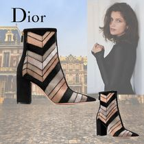 Christian Dior Casual Style Leather Block Heels Elegant Style