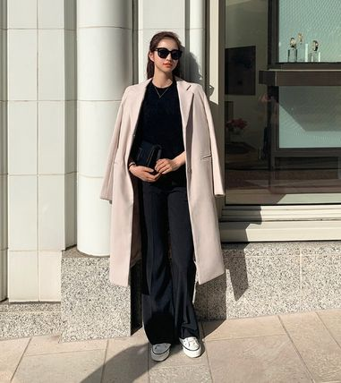Casual Style Street Style Plain Long Midi Office Style