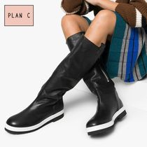 Plan C Round Toe Casual Style Street Style Plain Mid Heel Boots