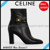CELINE Blended Fabrics Plain Leather Ankle & Booties Boots