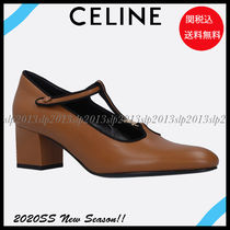 CELINE Casual Style Blended Fabrics Plain Leather Office Style