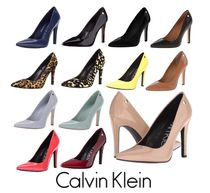 Calvin Klein Leopard Patterns Suede Plain Leather Pin Heels Elegant Style