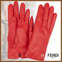 FENDI Plain Leather Logo Leather & Faux Leather Gloves