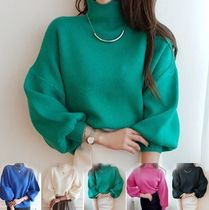Casual Style Office Style V-neck & Crew neck