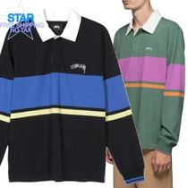STUSSY Pullovers Stripes Unisex Long Sleeves Plain Cotton Polos