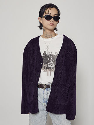 OPEN THE DOOR Unisex Plain Street Style Oversized Cardigans