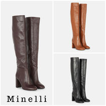 minelli Casual Style Plain Leather High Heel Boots