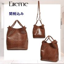 elleme Casual Style 2WAY Leather Elegant Style Totes