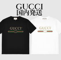 GUCCI Crew Neck Cotton Oversized Logo T-Shirts