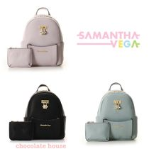 Samantha Thavasa Faux Fur Plain With Jewels Backpacks