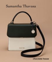 Samantha Thavasa 2WAY Bi-color Plain Leather Elegant Style Shoulder Bags