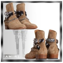 AMIRI Paisley Suede Chain Plain Leather Boots