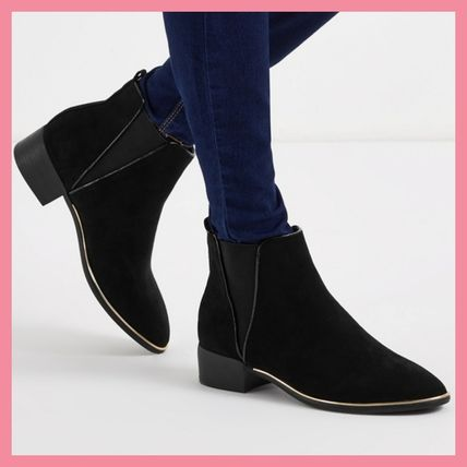 Casual Style Plain Chunky Heels Ankle