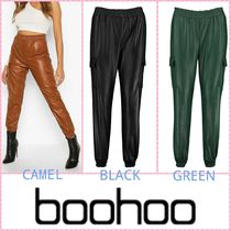 boohoo Casual Style Faux Fur Leather & Faux Leather Pants