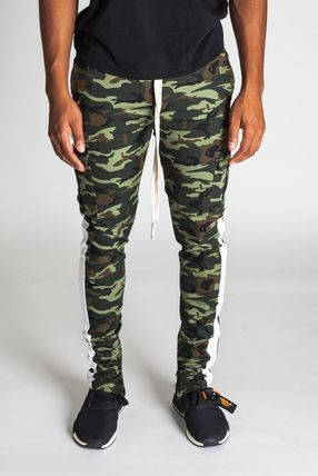 Printed Pants Stripes Camouflage Unisex Street Style
