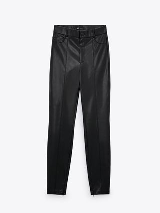 ZARA Faux Fur Leather & Faux Leather Pants