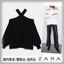 ZARA Casual Style Long Sleeves Plain Bandeau & Off the Shoulder