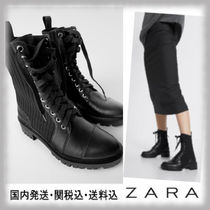 ZARA Lace-up Casual Style Block Heels Lace-up Boots