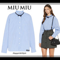 MiuMiu Gingham Casual Style Long Sleeves Cotton Medium