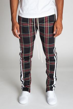 Printed Pants Stripes Other Plaid Patterns Unisex