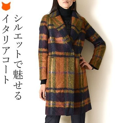 Other Plaid Patterns Wool Medium Elegant Style Chester Coats