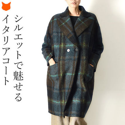 Other Plaid Patterns Wool Medium Oversized Elegant Style