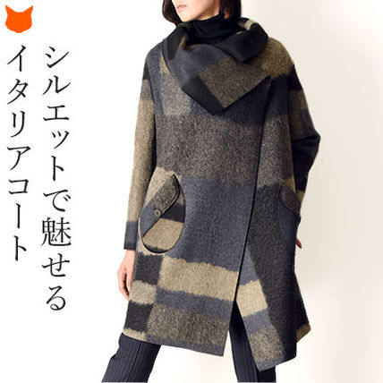 Wool Medium Oversized Elegant Style Coats
