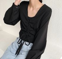 Casual Style Blended Fabrics Dolman Sleeves Street Style