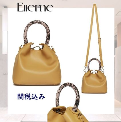 Casual Style 2WAY Leather Python Elegant Style Shoulder Bags