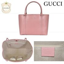 GUCCI A4 Leather Office Style Elegant Style Logo Totes