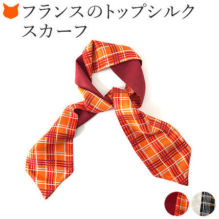Other Plaid Patterns Casual Style Wool Silk Elegant Style