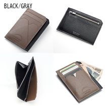L'arcobaleno Unisex Plain Leather Handmade Folding Wallet Long Wallet